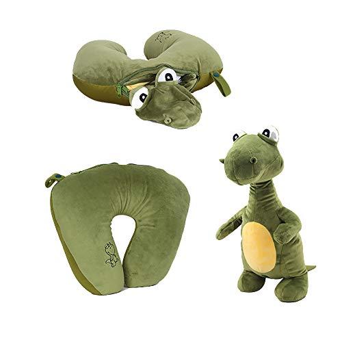 Missley 2 in 1 Dinosaurier Hals Kissen Weich U-Form Kissen Veränderbar Tier Polster Lustig Plüschtier Geschenke zum Kinder Liebhaber (Dinosaurier)