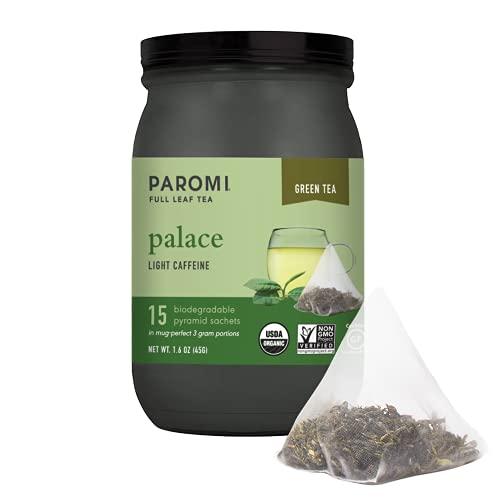 Paromi Organic Palace Green Tea, Signature Jar, 15 Count