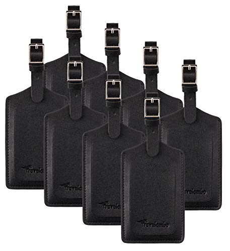 8 Pack Leather Luggage Travel Bag Tags by Travelambo Black