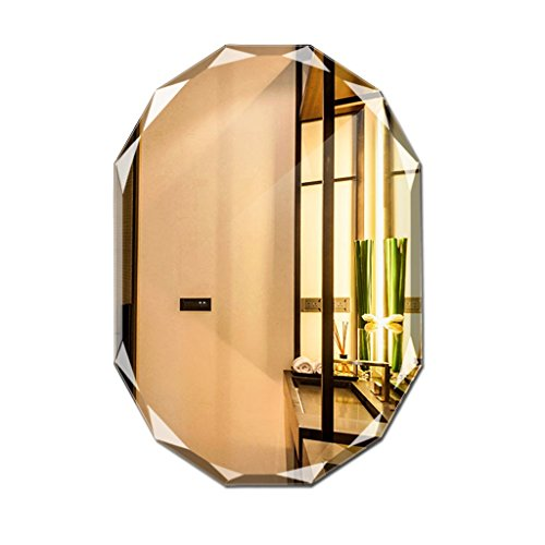 Greawei@ Wall-Mounted Frameless Bathroom Mirror Diamond Side Design Makeup Mirror Simple and -