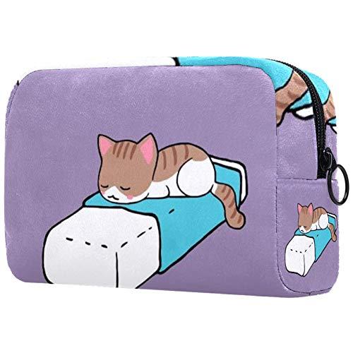 Kosmetiktasche für Kosmetikpinsel, personalisierbar, tragbar, für Damen, Handtasche/Kosmetiktasche, Reise-Organizer, Katzenbett