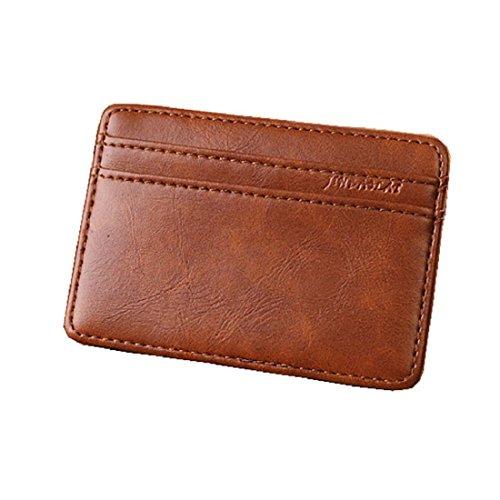 Vovotrade Lusso Mini Neutro magico Bifold Portafoglio in pelle supporto di carta della borsa (Luce Caffè)