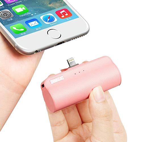 iWALK Externer Akku 3350mAh Tragbares Power Bank Kompakt Handy Ladegerät Kompatible für iPhone 12 Mini, 12, 12 Pro, 12 Pro Max, 11, 11 Pro, 11 Pro Max, XS Max, XR, 8, 8 Plus, 7, 7 Plus (Pink)
