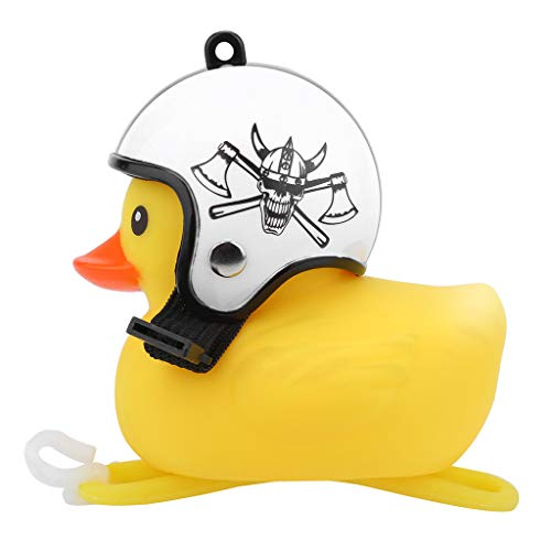 AZEWO Kids Cartoon Shining Duck Lighting Head Bike Horn, Cute Bicycle Lights Bell Squeeze Horns for Kids and Adults Bicycle, Bicycle Handlebar Accessories, Funny Cycling Light Rubber Duck Toys (I)