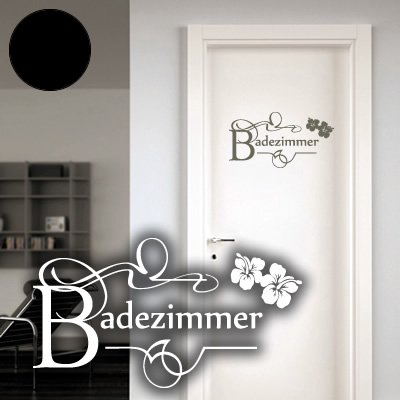 Klebesüchtig A661 Tür-/Wandtattoo Badezimmer 60cm x 32cm schwarz (erhältlich in 40 Farben und 2 Größen)