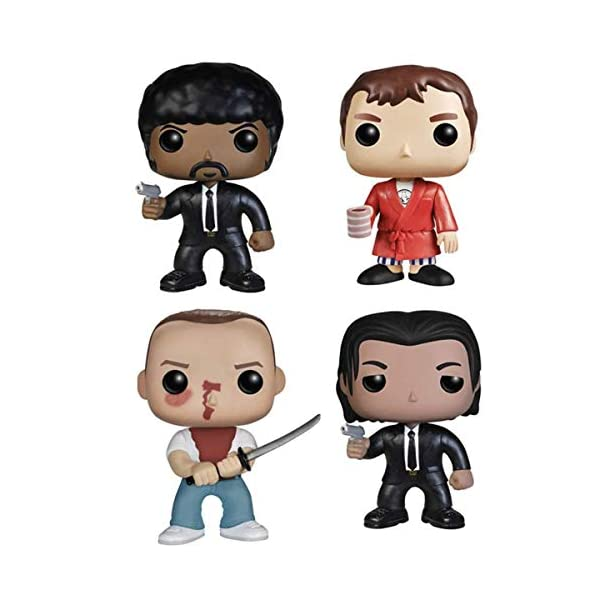 POIJK Bobblehead Figures POP película: Pulp Fiction-julios/vega/Jimmy/Butch decoración del coche (color: B) 3