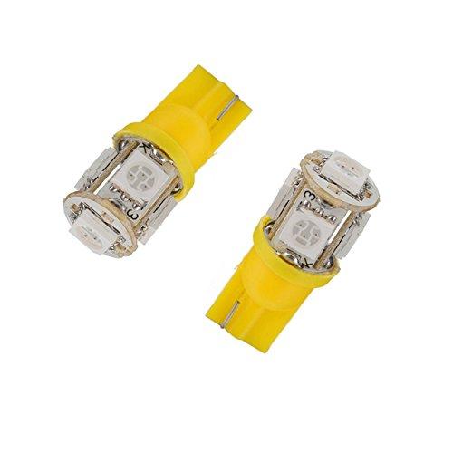 TMT LEDs 2 x ampoule LED T10 W5W 5 LED SMD 5050 Jaune-orange clignotant pour intérieur de voiture/moto