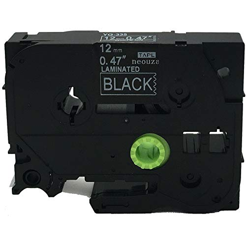 NEOUZA Compatible for Brother P-touch TZe Tz White on Black label tape 6mm 9mm 12mm 18mm 24mm 36mm all size(TZe-335 12mm)