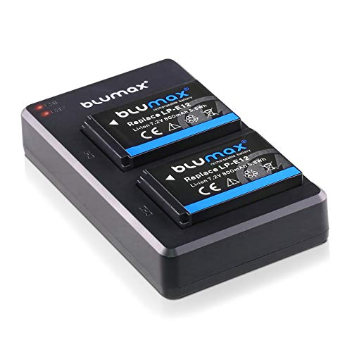 Blumax 2X Akku + Slim Dual flaches Ladegerät kompatibel mit Canon LP-E12 | 800mAh | für EOS M | EOS M50 | EOS M2 | EOS M10 | EOS 100D | EOS Rebel SL1