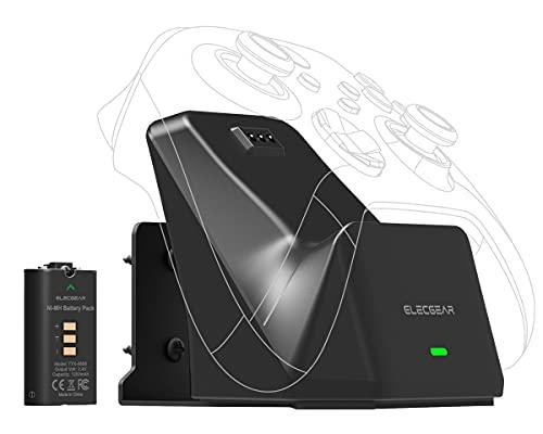 ElecGear Xbox Solo Dock di Ricarica con Batteria Ricaricabile da 1200mAh, Montaggio a Parete e Desktop USB Caricabatterie Docking Station per Controller Wireless Xbox Series X S, Xbox One, S, X