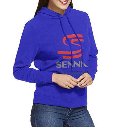 KOMOBB Ayrton Senna - S Sudaderas con Capucha para Mujer Sudadera con Capucha Chaquetas Azul