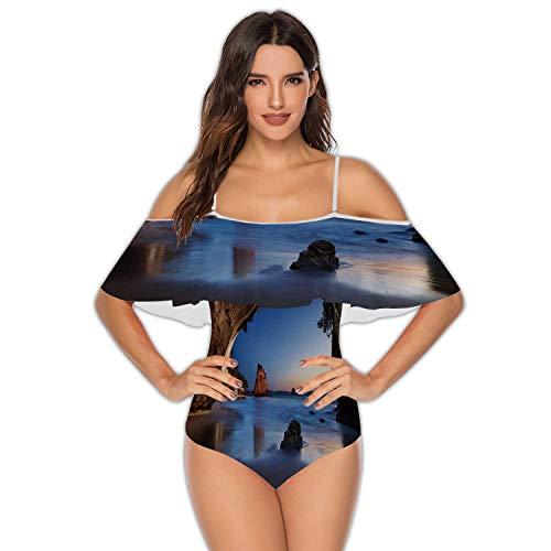Cove at Sunrise,Womens One-Piece Swimsuits Swimwear Ruffles Beach Bathing Suit Coromandel Peninsula M