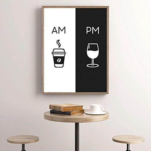 EPSMK Malerei, Dekoration, Wanddekoration, modern, Bild am Café, PM Wein, Zeichen zum Drucken, Küche, Restaurant, Leinwand, Stil Nordic, 24x32inch(60x80cm)