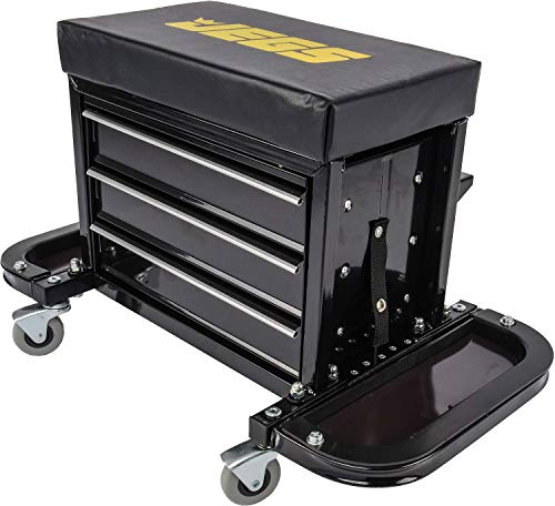 JEGS 3-Drawer Mechanics Roller Seat Tool Box | Black With...