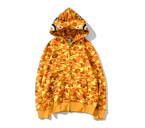 Mulynn Fashion Hip Hop Ba-pe Shark Camo Print Cotton Sweater Couple Casual Loose Zip Hoodie Jacket for MenWomen Yellow, X-Large