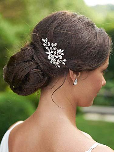 Edary Pasadores para el pelo de novia, de cristal, para novia, accesorios para el cabello para mujeres y niñas, paquete de 2