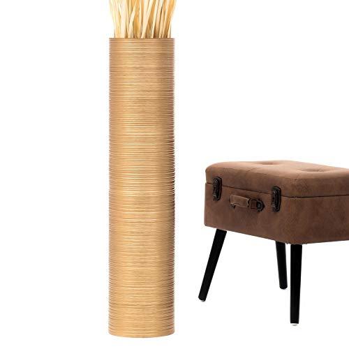 Leewadee jarrón Grande para el Suelo – Florero Alto y Hecho a Mano de Madera exótica, Recipiente de pie para Ramas Decorativas, 90 cm, Dorado