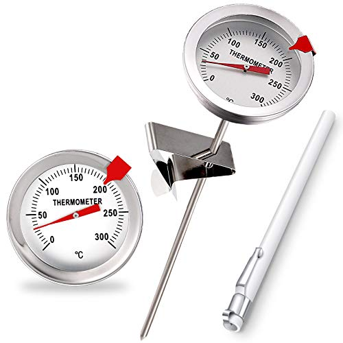 6 Inch Frying Pan Thermometer Probe Stainless Steel Thermometer High Temperature Fry Thermometer with Metal Retaining Clip and Plastic Sleeve for Turkey, Grill, Beef, Lamb, Seafood Cooking