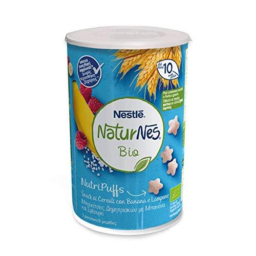 Nestlé Naturnes Nutripuffs Snack ai Cereali Banana e Lampone da 10 Mesi, 5 Barattoli da 35 g
