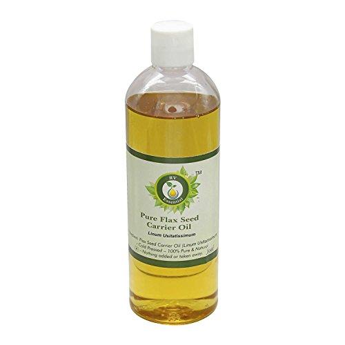 Aceite semilla lino | Linum usitatissimum | Sin refinar | Para pelo | Para cocinar | 100% natural puro | Aceite semilla lino prensado en frío | Flax Seed Oil |100ml | 3.38oz By R V Essential
