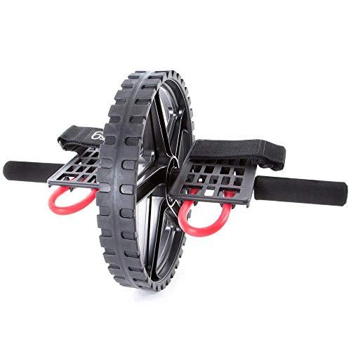 66fit Power Wheel - Rullo per esercizi addominali e core, nero