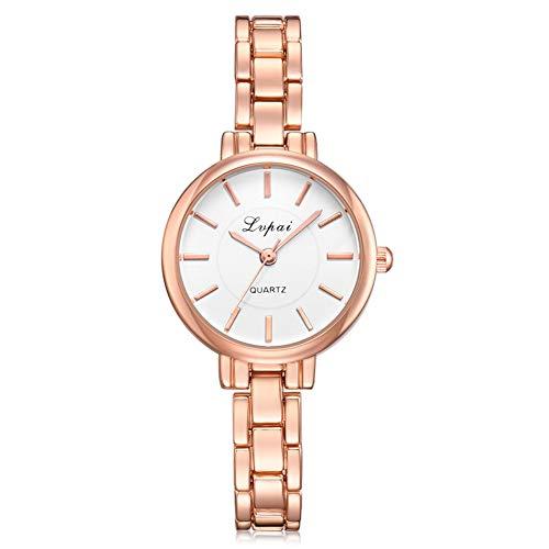 GJHBFUK Reloj Women Slim Strap Pulsera Reloj De Aleación Reloj De Pulsera De Cuarzo (Esfera Blanca De Oro Rosa)