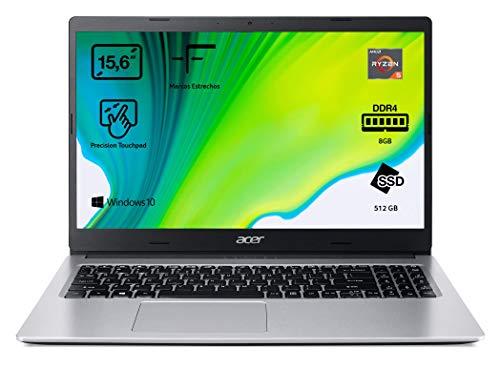 Acer Aspire 3 - Portátil 15.6' FullHD (Ryzen 5 3500U, 8GB RAM, 512GB SSD, UMA Graphics, Windows 10 Home), Color plata - Teclado QWERTY Español