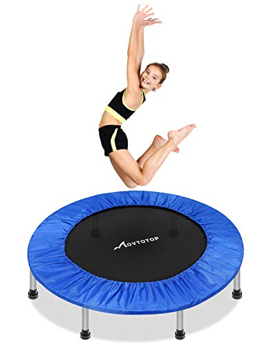 MOVTOTOP Mini Trampoline 38 Inch Folding Indoor Trampolines with Safety Pad Fun Mini Fitness Rebounder Trampoline for Kids Adults IndoorGarden Workout Max 220lbs Blue