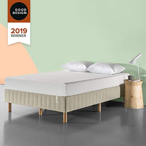 Zinus Justina Quick Snap Standing Mattress Foundation / Platform Bed / No Box Spring Needed / Beige, King