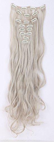 """24"""" (58cm) de Full Clip Tete dans les extensions de cheveux ondules boucles Wavy Ombre dip-dye Naturel noir & blond de blanchiment"""