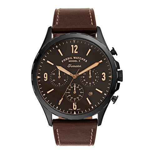 Fossil Reloj cronógrafo de cuarzo Forrester para hombre de acero inoxidable y cuero, Negro, marrón, Reloj de cuarzo.