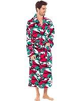 Alexander Del Rossa Men's Warm Flannel Robe, Soft Cotton Kimono, Medium Christmas Camo (A0474N26MD)