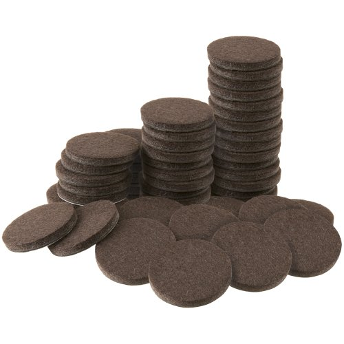 Soft Touch 4728695N Heavy Duty 1 Inch Felt Furniture Pads to Protect Hardwood Floors from Scratches, Brown, 48 Piece