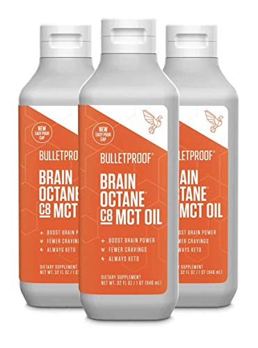 Bulletproof Brain Octane MCT Oil, Perfect for Keto and Paleo Diet, 100% Non-GMO Premium C8 Oil, Ketogenic Friendly, Responsibly Sourced from Coconuts Only, Made in The USA (3-Pack of 32oz)