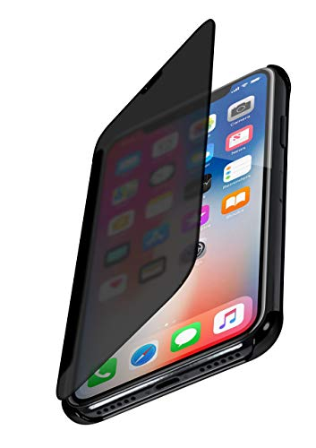 moex Dünne 360° Handyhülle passend für iPhone 11 Pro | Transparent bei eingeschaltetem Bildschirm - in Hochglanz Klavierlack Optik, Anthrazit