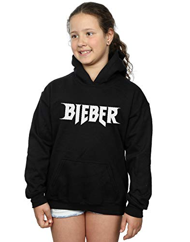 Justin Bieber niñas Simple Logo Capucha 5-6 Years Negro