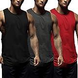 COOFANDY Mens Workout Tank Tops 3 Pack Sleeveless Shirts Gym Bodybuilding Muscle Tee Shirts (Dark Grey/Black/Red, Medium)