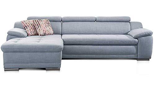 Cavadore Ecksofa Aniamo mit XL-Longchair rechts / Eckcouch mit Kopfteilfunktion im modernen Design / Sitzecke für Wohnzimmer / Größe: 270 x 80 x 165 cm (BxHxT) / Farbe: Hellblau
