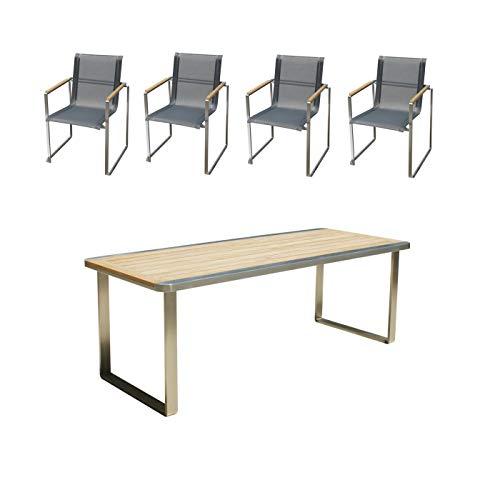 Edles und hochwertiges Gartenmöbel Set: 1 Gartentisch 180 cm und 4 Gartenstühle aus Edelstahl und Teak von Linneborn Metallwaren