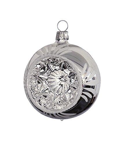 Thüringer Weihnacht 52069–Palla di Natale con Reflex, 7cm, Argento con fogli bianchi, Set di 3