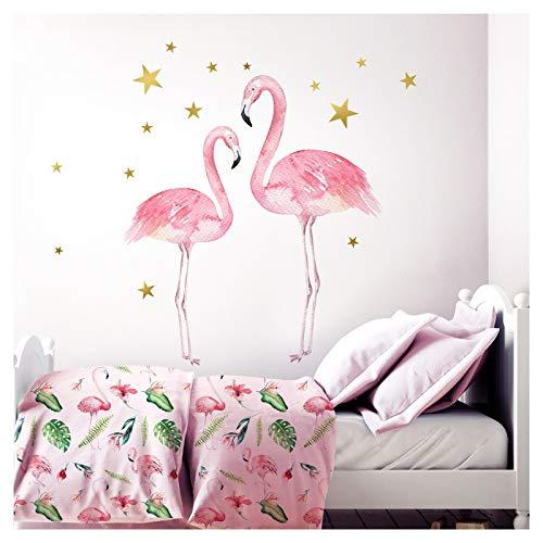 Little Deco Kinderzimmer Aufkleber Mädchen 2 Flamingos I 82 x 53 cm (BxH) I Deko Wandaufkleber Babyzimmer Wandsticker Kinder Wandtattoo Babys Tiere DL207-19