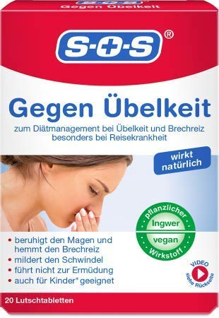 SOS Gegen Übelkeit, Lutschtabletten zur Hemmung von Übelkeit und Brechreiz, besonders bei Reisekrankheit, mit Ingwer-Extrakt und geeignet für Kinder ab 6 Jahren (1)