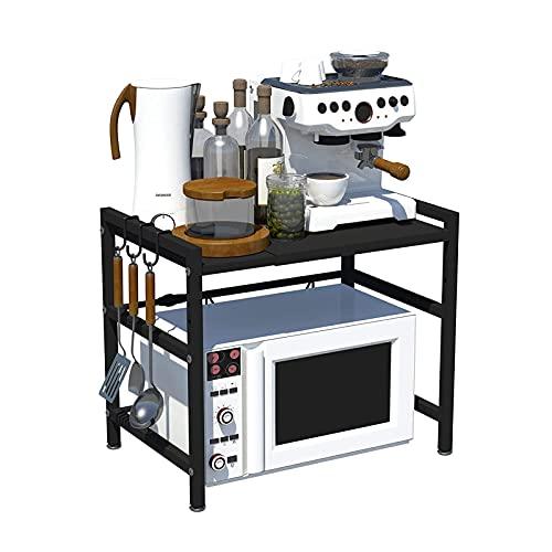 g/j/f Estante para Microondas, Rejilla para Microondas Extensible de Acero Al Carbono, Estantería para Almacenamiento de Cocina, 40-60 cm x 42 cm x 46 cm