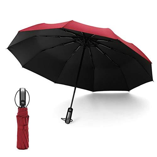 HYCORPOT Ombrello pieghevole automatico 10 costole antivento da viaggio apertura e chiusura automatica anti-UV impermeabile pieghevole per uomini e donne portatile compatto con manico ergonomico