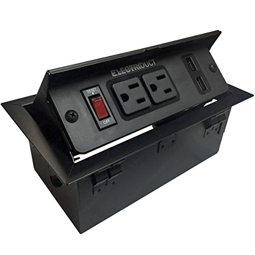 Hidden Pop Up Power Center - 2 AC Outlets & 2 USB Charging Ports 2.4 Amp (Black)