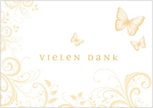 Erhältlich im 1er 4er 8er Set: Vielen Dank Schöne Dankeskarte (Klappgrußkarte/Geburtstagskarte/Grußkarte) zum Valentinstag, Geburtstag mit Ornamenten in zartem Gelb. (Mit Umschlag) (8)