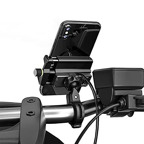 Soporte de teléfono de motocicleta impermeable con cargador USB Moto Mountain Bike Manillar Soporte de montaje