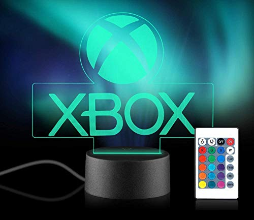 Xpassion Game Player Gift 3D Illusion Night Light 16 Multicolors USB Changing LED Table Desk Lamp Xbox Gamer Decor Light with Remote Control for Kids Christmas Halloween Birthday