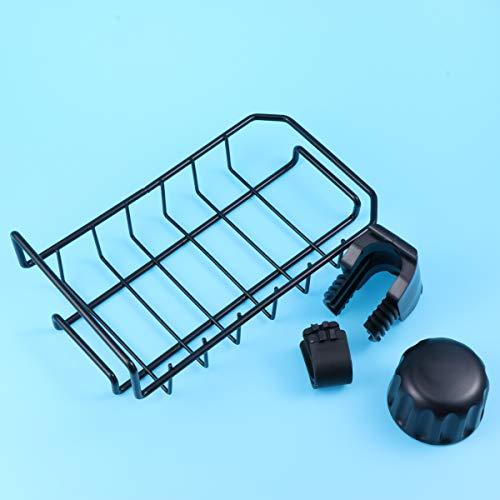 BESTonZON Wasserhahn Ablauf Lagerregal Kitchen Organizer Ablassen Regal Geschirrspülmittel Schwammhalter (Schwarz)