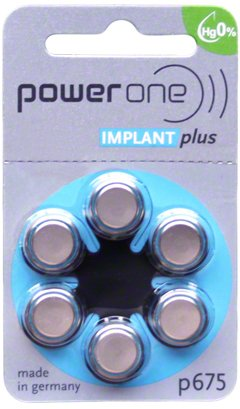 60 Batterien für Cochlea-Implantate PowerOne Implant Plus P675 Power One